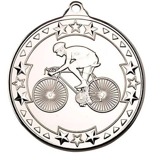 Lapal Dimension CYCLING 'TRI STAR' MEDAL - SILVER 2in PACK OF TEN by Lapal Dimension