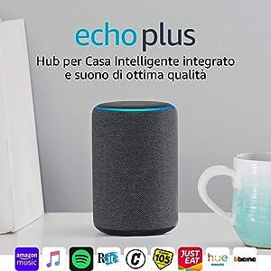 Echo Plus (2ª generazione) – Hub per Casa Intelligente integrato e suono di ottima qualità - Tessuto antracite