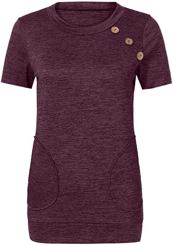 F/_Gotal Womens Casual Tops Short Sleeve Round Neck Buttons Loose Tunic T Shirt Blouse Tops with Pocket for Teen Girls