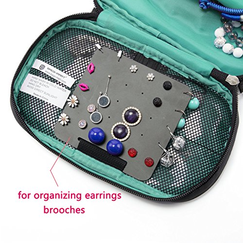 Suzanne George Travel Jewelry Organizer Case, Jewelry Storage Bag Earring Necklace Pouch for Women,Black by Suzanne George (Image #2)