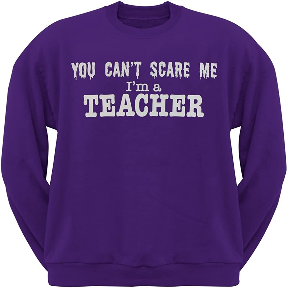 Old Glory Cant Scare Me Im A Teacher Crew Neck Sweatshirt Medium Purple