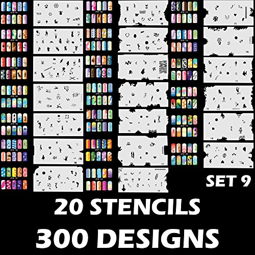 Custom Body Art Airbrush Nail Stencils - Design Series Set # 9 Includes 20 Individual Nail Templates with 15 Designs each for a total of 300 Designs of Series (Airbrush Art Stencil)