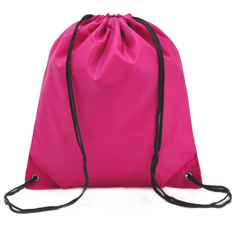 LAAT Waterproof Beach Bale Shoulder Sacks Drawstring Backpack Gym Rucksack Oxford Folding Bag for PE School Travel Sport (Rose)