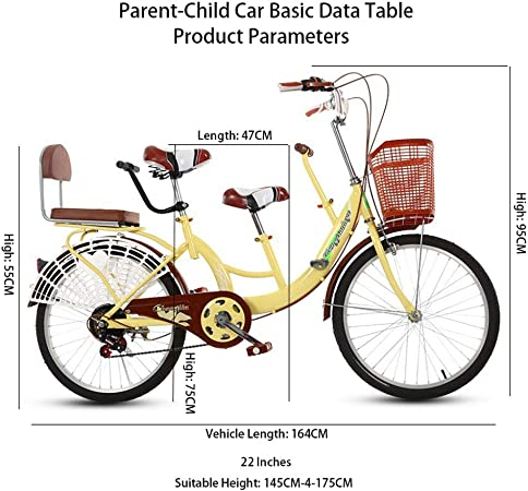 Nouveau 22Parenting Tandem Bikes Bicycle 3 Seater Bike Enfants B/éb/é Parents Parent Bike avec si/ège Enfant Blanc