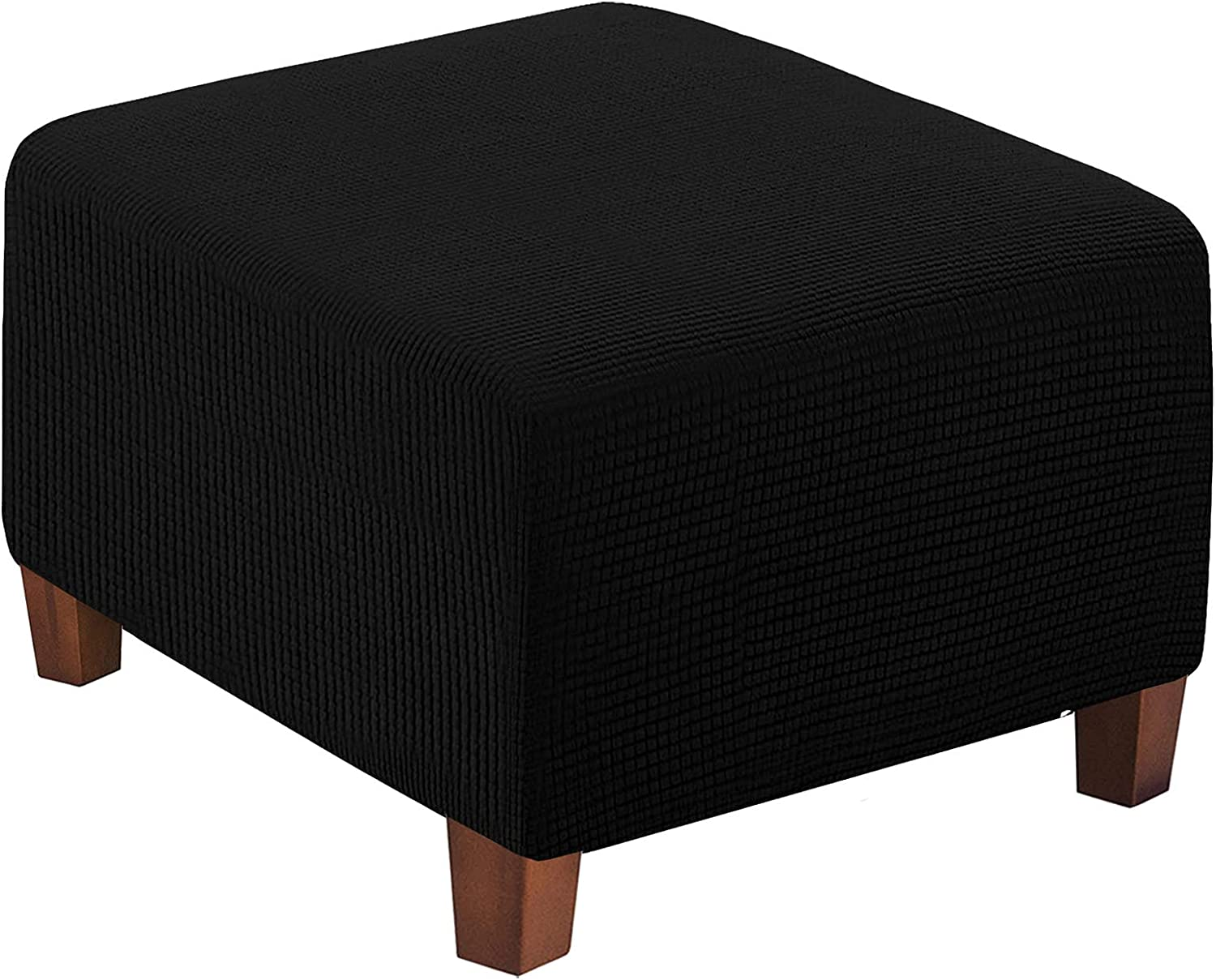 WOMACO Square Ottoman Slipcover Stretch Footstool Covers for Living Room Form Fit Folding Storage Stool Ottoman Furniture Slip Cover Protector with Elastic Bottom (Black, Oversized)