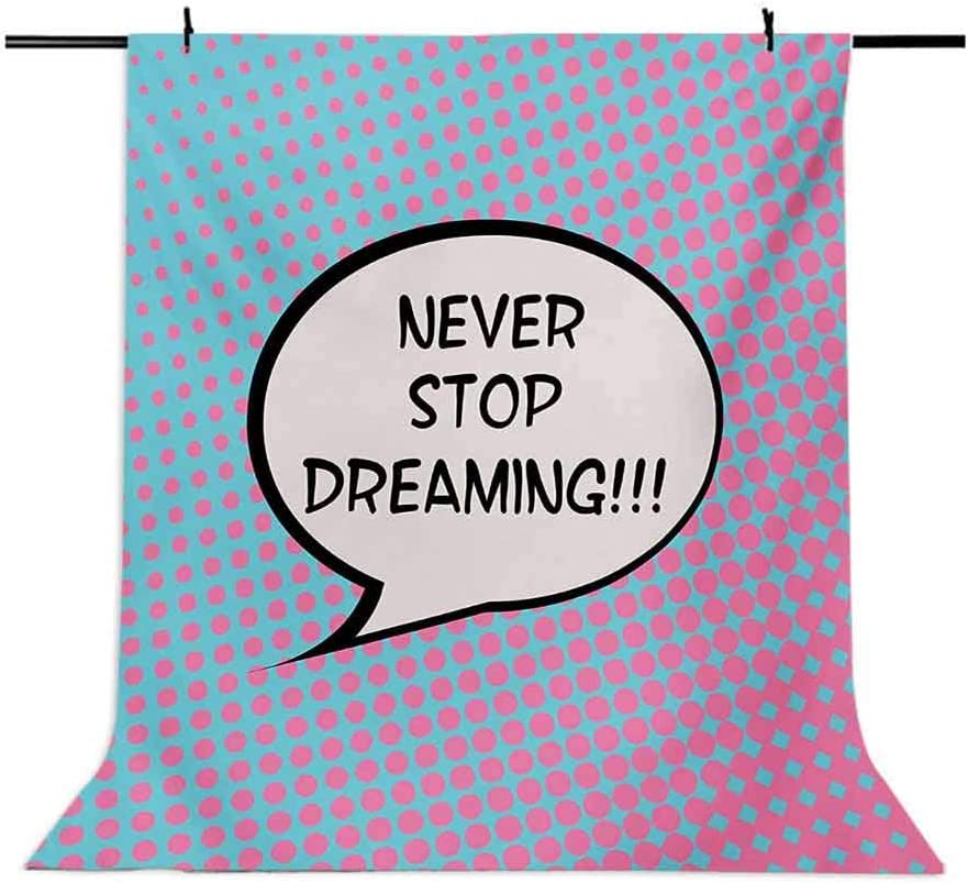 Quote 10x12 FT Backdrop Photographers,Retro Never Stop Dreaming Pop Art Thinking Bubble Ombre Digital Polka Dots Motivation Background for Party Home Decor Outdoorsy Theme Vinyl Shoot Props Blue Pink