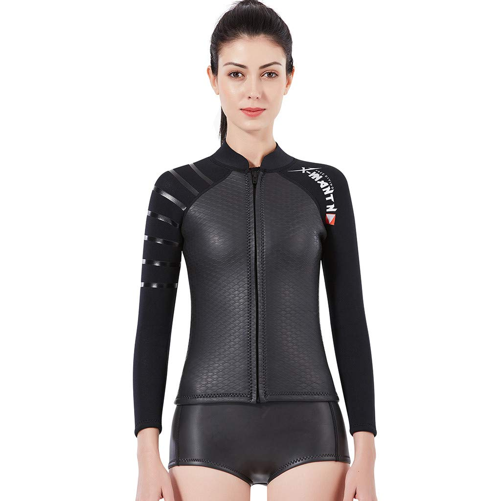 TANLANG Women's Thermal Wetsuits Full Suit Sleeves 3mm Neoprene Youth Diving Snorkeling Surfing Jumpsuit Warm Swimwear Black