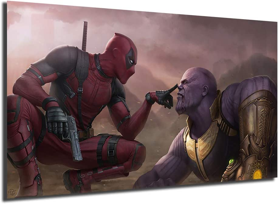 Deadpool VS Thanos Poster Wall Art Canvas Nordic Prints Landscape Painting Wall Pictures For Office Living Room Home Decor (No Framed,16x28inch)