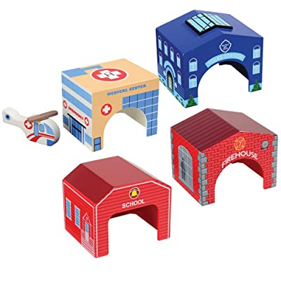 CP Toys 4 pc. Wooden Community Buildings with Helicopter for Block Play: Toys & Games