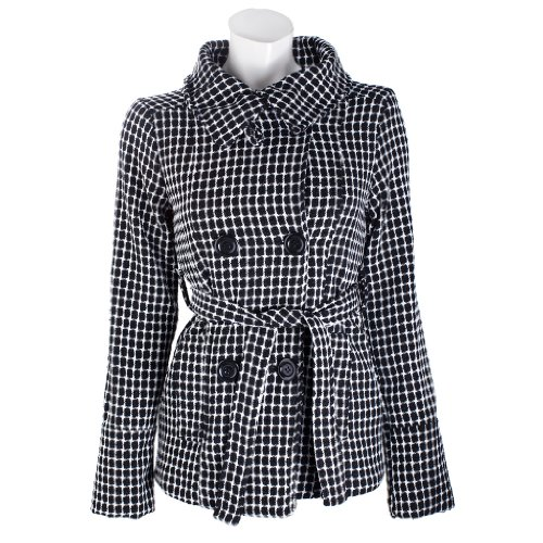 Studio 33 Womens Tweed Wool Blend Double Breasted Belted Sweater Knit Jacket - Large (Belted Tweed)