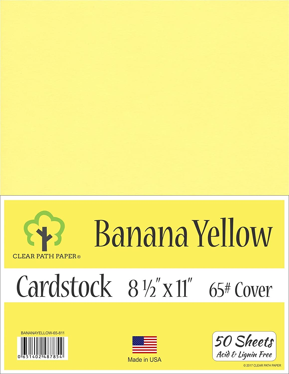 50 Sheets Banana Yellow Cardstock 8.5 x 11 inch 65Lb Cover