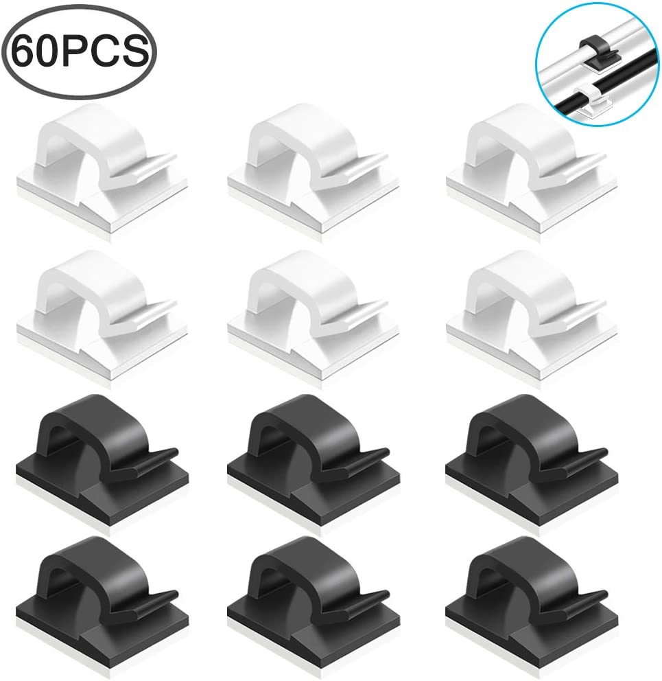 60 Pcs Adhesive Cable Clips, FineGood Plastic Cable Cord Organziers Cable Storage Management Clip for Home Office - Black, White