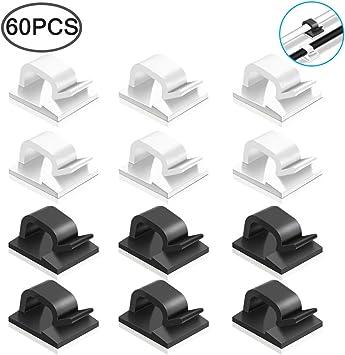 Soporte de cable autoadhesivo 60 piezas Clips de cable abrazadera de cable de pl/ástico Organizador de cable de escritorio ajustable para oficina y hogar