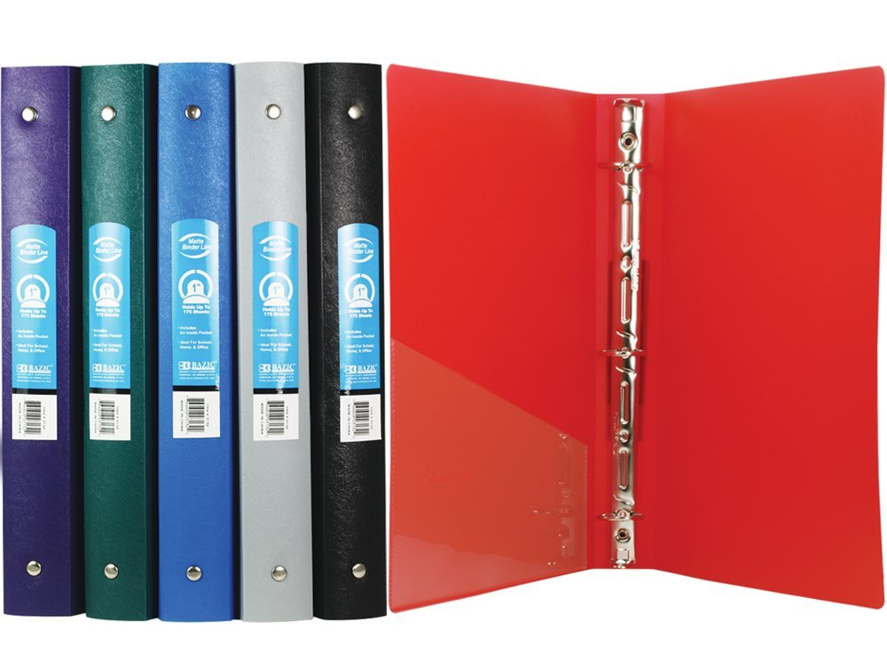 BAZIC 1'' Matte Color Poly 3-Ring Binder w/ Pocket for School, Home, or Office (Case of 48) by Bazic