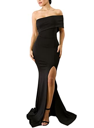 Elapsy Womens Sexy Off The Shoulder Slit Maxi Long Party Evening Cocktail Dress Wedding Formal Gown