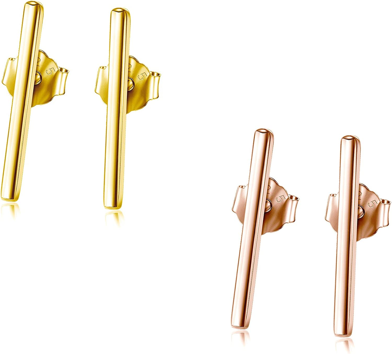 High Quality Sweet and Simple Solid 925 Sterling Silver Shiny Rectangular Bar Studs Earrings with Silver Backings 5mm 1 pair
