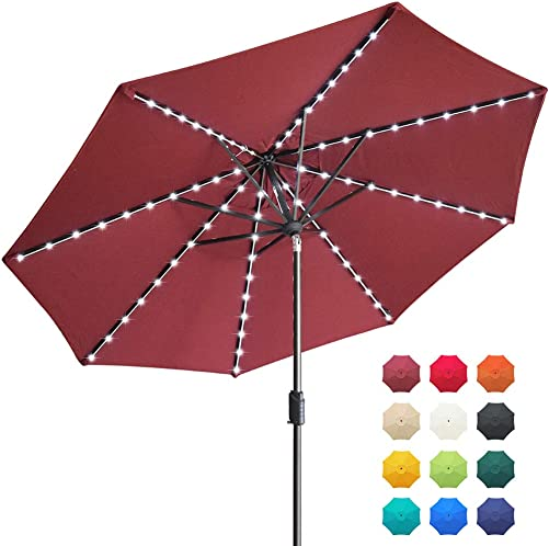 EliteShade Sunbrella Solar Umbrellas 9ft Market Umbrella with 80 LED Lights Patio Umbrellas Outdoor Table Umbrella with Ventilation and 5 Years Non-Fading Top,Burgundy
