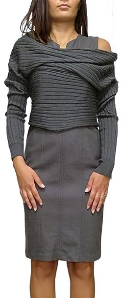 ab6b93302ddd Abito lana donna più maglia colore tortora autunno inverno tubino  smanicato 42  Amazon.it  Abbigliamento