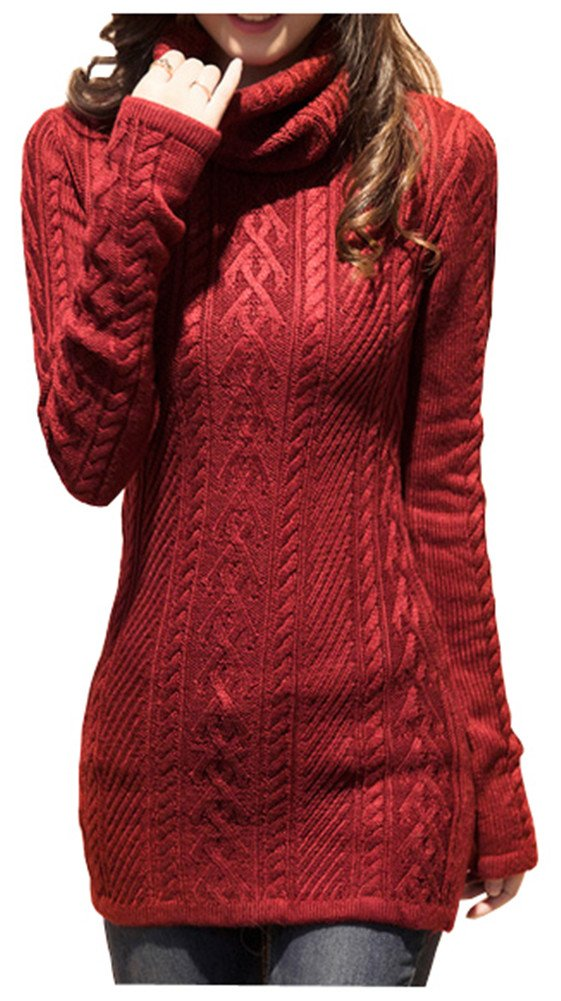 v28 Women Polo Neck Knit Stretchable Elasticity Long Sleeve Slim Sweater Jumper (US SIZE 0-4, Wine)
