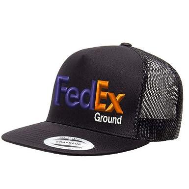 abb42a110ee56 Custom Embroidered FedEx Ground Purple Orange Mesh Trucker Snapback Hat  Yupoong Baseball Cap - All Black