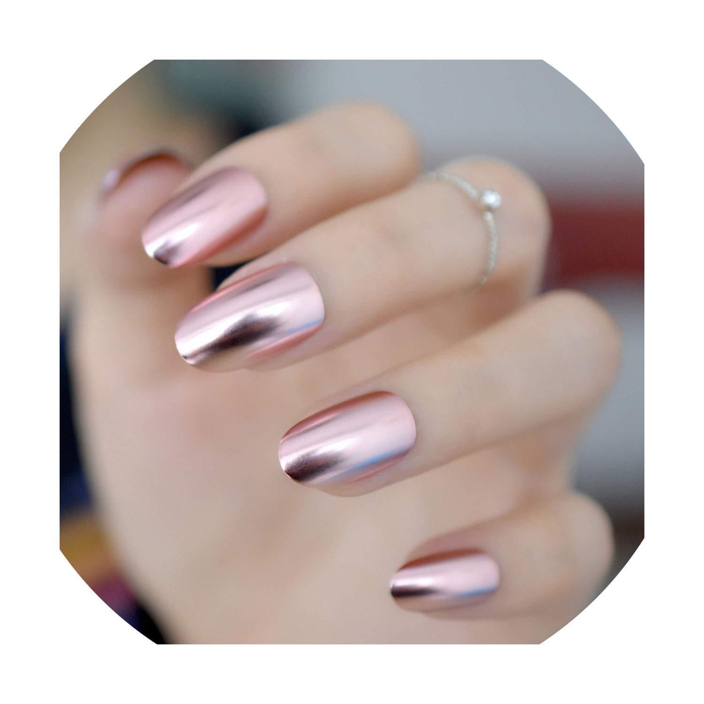 Amazon.com : False French Acrylic Nail Tips Metallic Square Fake ...