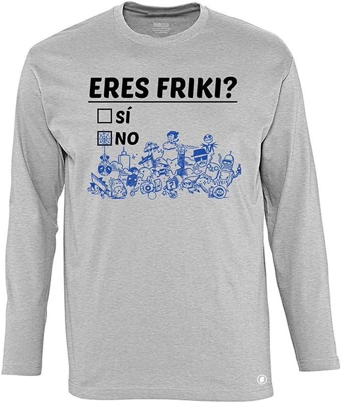 Camiseta Manga Larga Divertida Eres Friki? Gris Mezcla ...