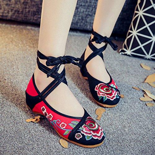 amp;G Mujer Zapatos NGRDX Pisos red Calzado Retro Straps Bordados Mujer Oxford China Casual Zapatos De Flores XwqdYw