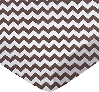 product image for SheetWorld Fitted Portable / Mini Crib Sheet - Brown Chevron Zigzag - Made In USA