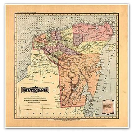 Amazon.com: Antiguos Maps MAP of Yucatan from Atlas Mexicano ...