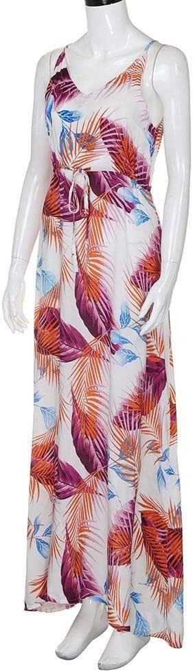 فستان ابيض مطبع بشكل الريش - نساء