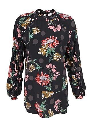 05c18f0badda BOSS Casual Langarm Bluse ESPEDITA Rüschenkragen Muster schwarz Größe 40