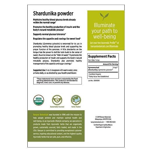 Amazon.com: Banyan Botanicals Shardunika Powder - Certified Organic, 1 Pound - Gymnema sylvestre - Supports healthy blood glucose levels and proper function ...