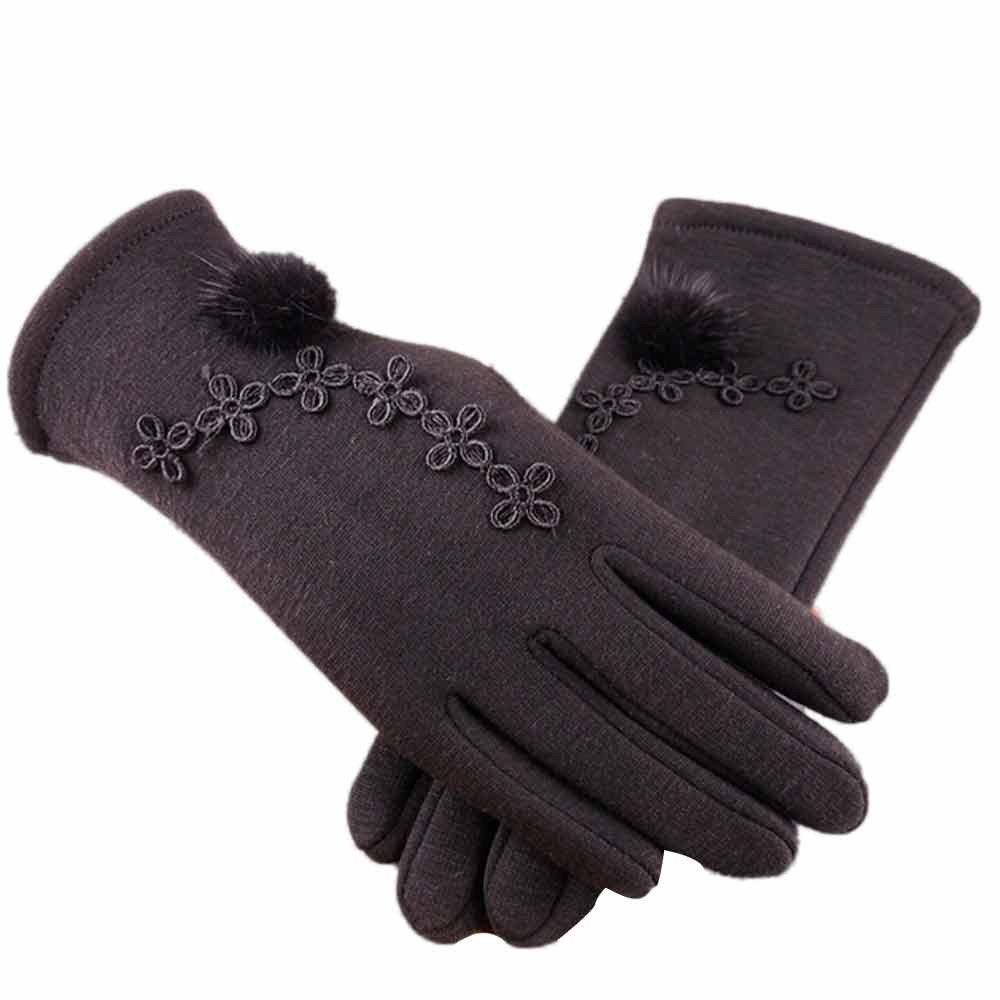 Women Cashmere Gloves,Alalaso Keep Warm Driving Full Finger Gloves Winter Wrist Mitten(Black)
