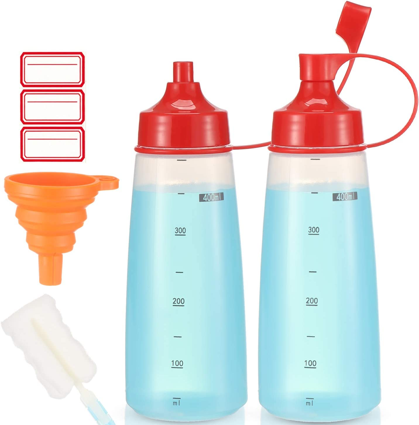 Condiment Squeeze Bottle Wide Mouth, Ondiomn 2 Pack 400ml Clear Squeeze Bottles for Condiments, Paint, Ketchup, Mustard, Oil, Sauces, Resin, Baking, Cake Decorating, Cleaning, BPA Free-Food Grade