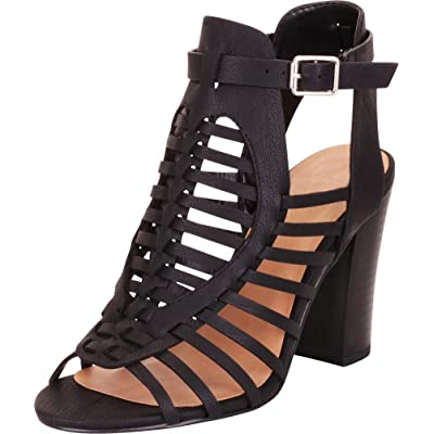 Cambridge Select Women's Open Toe Strappy Caged Gladiator Chunky Block Heel Ankle Bootie | Heeled Sandals