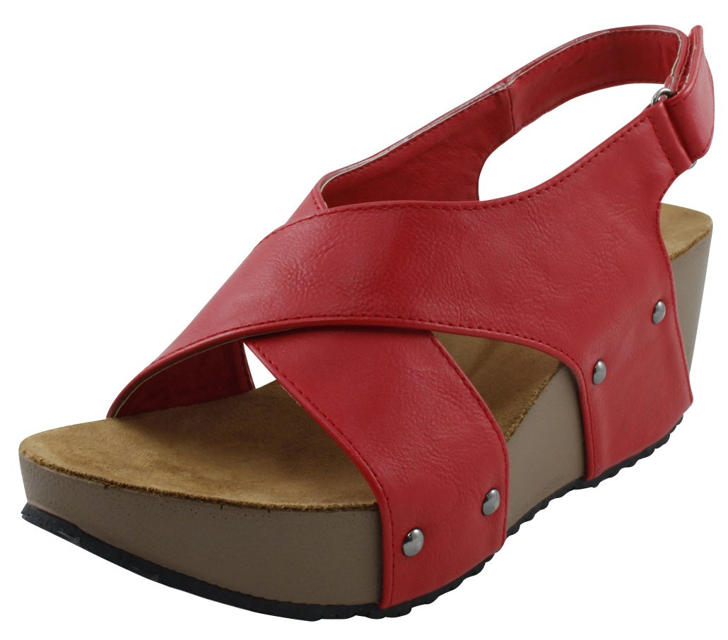Cambridge Select Women's Open Toe Studded Crisscross Strappy Slingback Platform Wedge Sandal B078THJYMB 5 B(M) US|Red