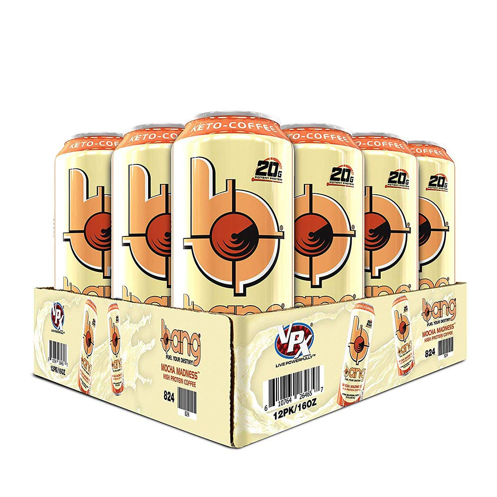 Bang Keto Coffee 16 Ounce Cans, Case of 12, Mocha Madness (20 Grams of Protein)