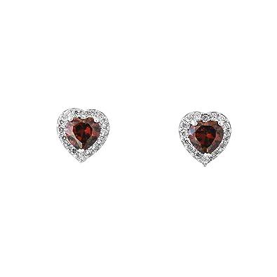 43da1e67d 14k White Gold Simulated Birthstone and CZ Heart Halo Stud Earrings,  Simulated Alexandrite