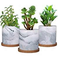 SQOWL 4 inch Marble Ceramic Succulent Planter Plant Pot Indoor Modern Cactus Herb Flower Pot with Bamboo Tray Set of 3