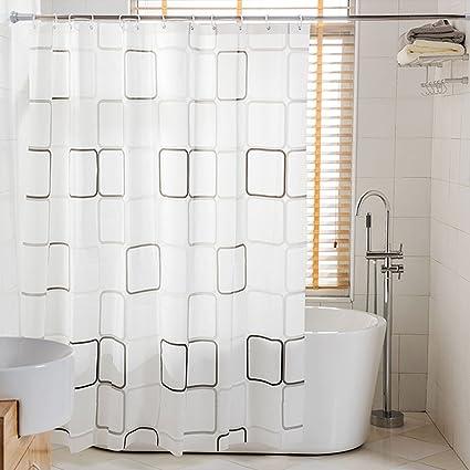 BEOKREU Tension Rod Shower Curtain Constant Bathroom