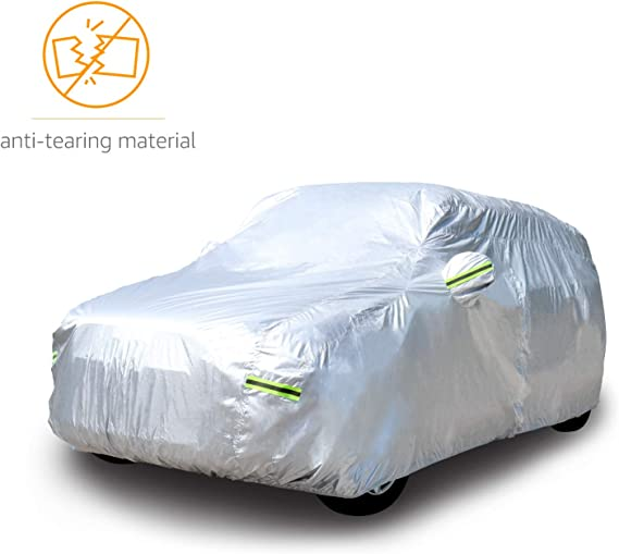 AmazonBasics Silver Weatherproof Car Cover - 150D Oxford