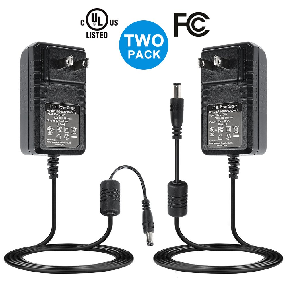 Nexlux DC 12V 2A Power Adapter, [Two Pack] AC 100-240V to DC 12V 2A Transformers 24W Power Supply for 16.4ft 12V LED Strip Lights CCTV Camera LED Modules