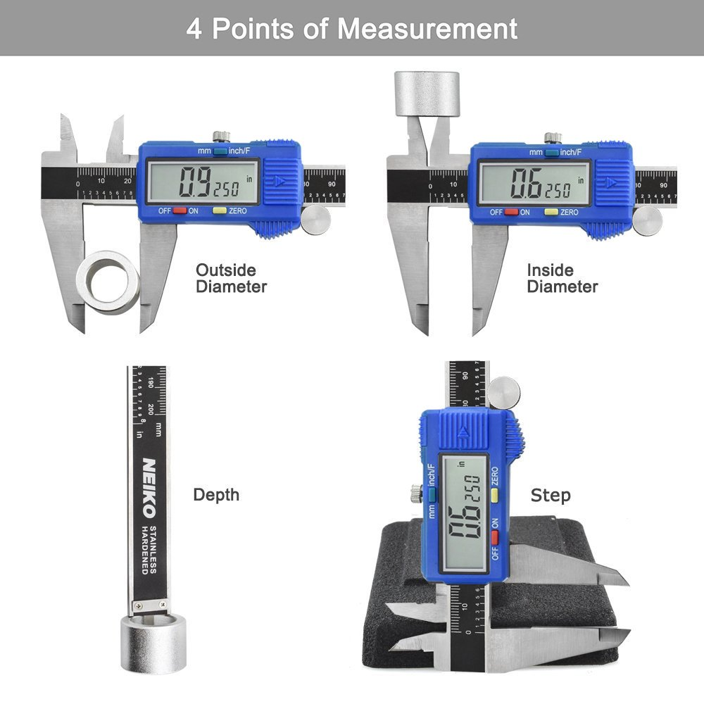 Neiko 01413A Electronic Digital Caliper with Extra Large LCD Screen, 8 x 10.9'', Clear by Neiko (Image #3)