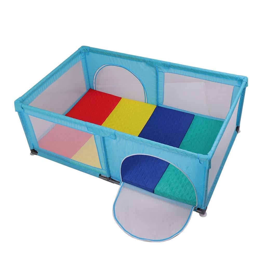 マット、ポータブル幼児用プレイペン子供向けゲームフェンス、ドア付ブルー   B07V6QYPB1