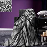 Safari outdoor blanket Cat Expression Opposite Images Fearsome Teeth Mirror Angry Intense Wildlife Custom made Pale Grey Black size:59''x35.5''