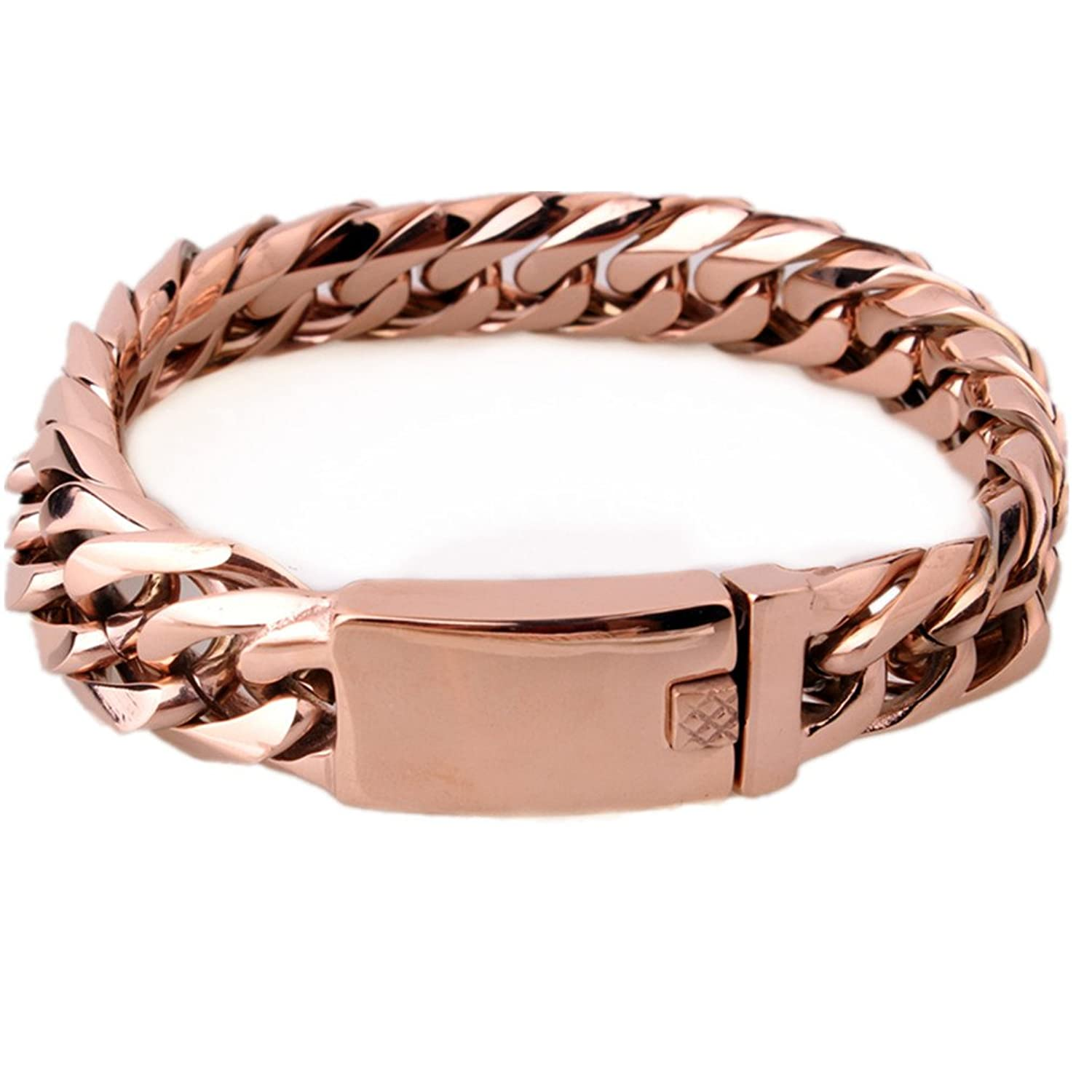 "8.66""15mm Cool Men Chain Curb Cuban Link Rose Gold Tone Stainless Steel Bracelet"