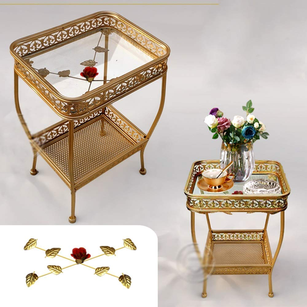 Tables Small Coffee European Wrought Iron Glass Tea Balcony Flower Stand Small,Brown