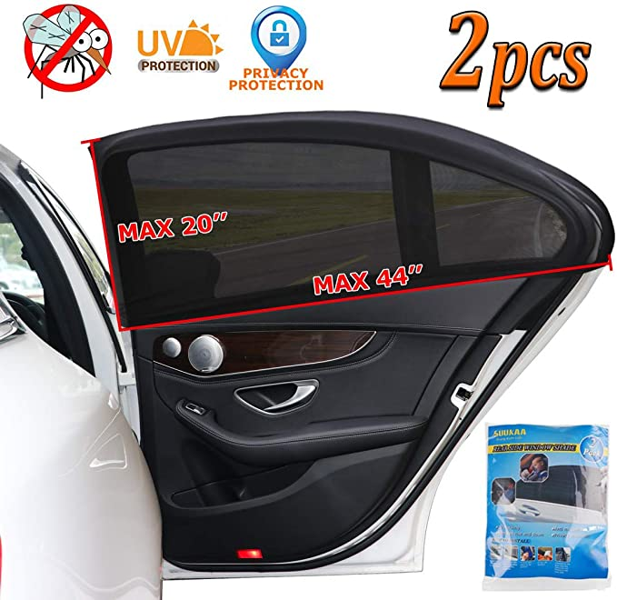 2 Pack Magnelex Sock Style Car Window Shades for Baby Block Sun Rays to Keep Passengers Pets and Car Interior Cool and Comfortable Elasticized Universal Mesh Car Shades Fit Most Vehicles