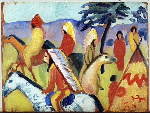 The Museum Outlet - August Macke - Riding around the Indian tent - Canvas Print Online Buy (24 X 18 Inch)