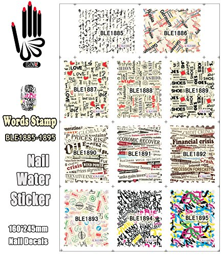 (11 Sheets/Lot Nail Tips BLE1885-1895 Letter Words Stamp Full Cover Nail Art Water Sticker Decals For Nail(11 DESIGNS IN)